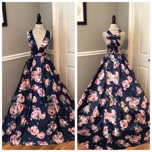 NEW JOVANI NAVY FLORAL PRINT FORMAL BALLGOWN